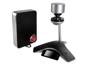 Polycom's CX5100 and CX5500 are 360-degree camera systems that sit in the middle of the conference room table